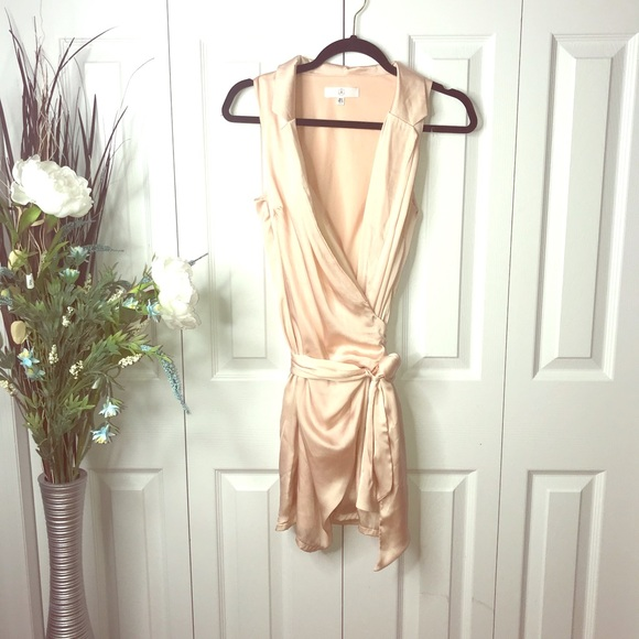 Missguided Dresses & Skirts - Champagne Satin wrap dress